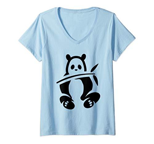 Donna Simpatico regalo per bambini in costume da orso panda di Maglietta con Collo a V