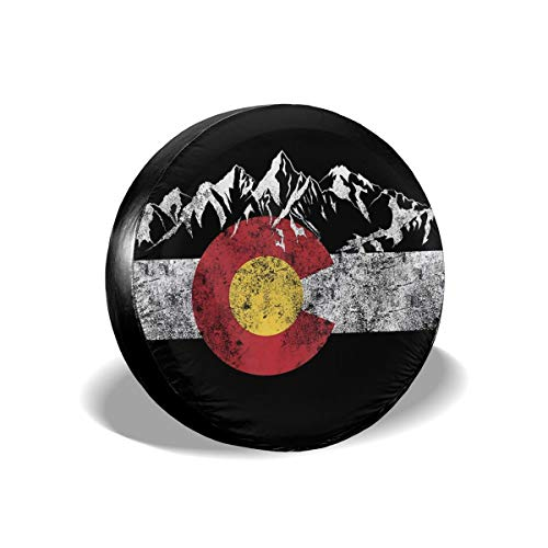 MMHOME Spare Tire Cover 15 Inch Vintage Mountain Colorado Flag Waterproof Universal Wheel Tire Covers for RV Jeep Trailer CRV RAV4 SUV Camper