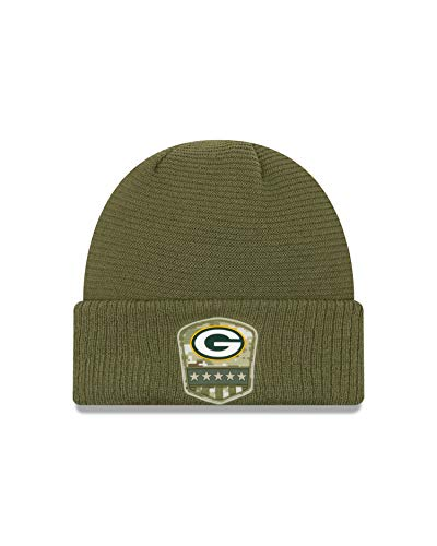 New Era Green Bay Packers Beanie On Field 2019 Salute to Service Knit Olive - One-Size