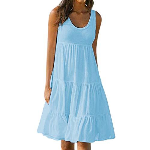 ESAILQ Damen Longra Damen Sommerkleider Ärmellos Spitzenkleider Basic Kleider Shirtkleid Freizeitkleid Damen Tank Tops Longshirts Lace Tunikakleid Kinelang (S,Himmelblau)