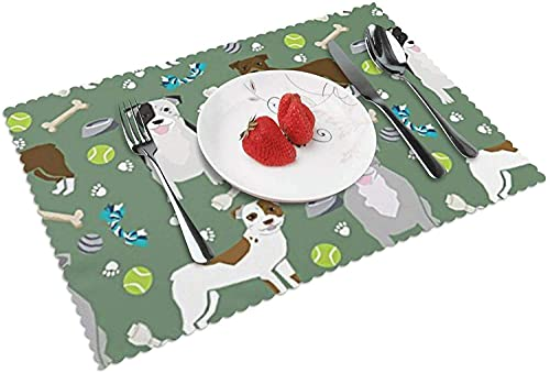 ZCHW Juego de 4 manteles Individuales Pitbull Dog Coffee Mat Tapetes de Mesa Lavables Resistentes al Calor 30X45CM
