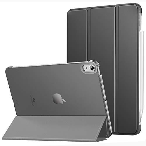 MoKo Hülle Kompatibel mit iPad Air 4. Generation 2020 iPad 10.9 Zoll2020 Tablet, Auto Schlaf/Wach [Unterstützt 2. Gen iPencil Laden] Transluzent Rückhülle Schutzhülle PU Leder Tasche, Space Grau