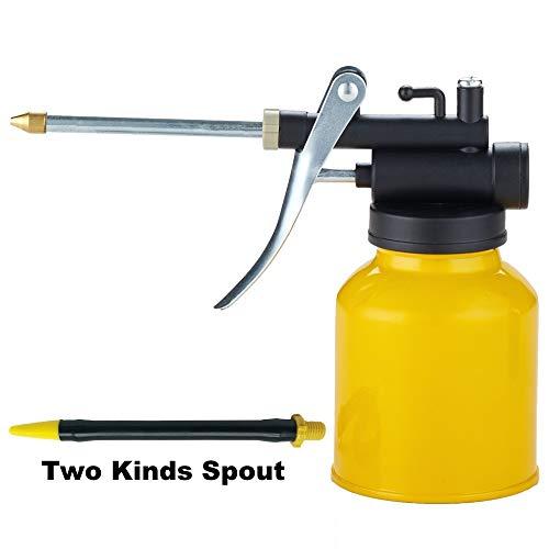 HEXIN Ölkanne Metall mit Pumpe Ölkännchen Ölpumpe Öler Ölspritzkanne mit 2 Arten gerade & Flexible auslauf