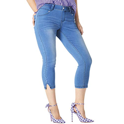 HUE Leggings capri de jean ultra suaves para mujer, Slit Hem/Classic Light Wash, L