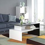 Homfa Couchtisch Wohnzimmertisch Beistelltisch Holztisch Kaffeetisch Holz 90x50x43cm (Schwarz+Weiß) - 7