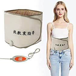 Electric Slimming Belt,Hot Compress Far Infrared Heating Slimming Belt Vibrating Weight Loss Massager Fitness Device for Fitness Workout, Unisex(EU)