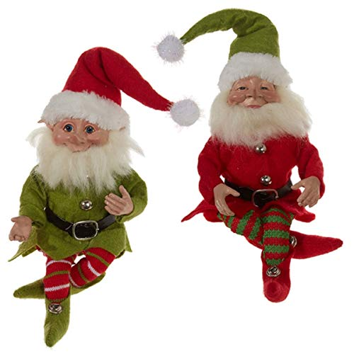 Red and Green Posable Christmas Elves, 10 Inch, Set of 2