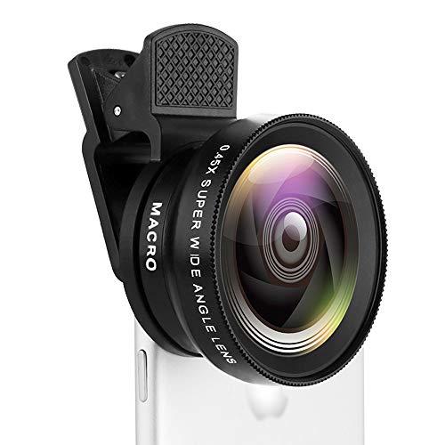 WSXD Lente de la cámara del teléfono de HD Lente Gran Angular, teléfono con cámara Kit de la Lente Compatible for iOS, Android y la mayoría de los teléfonos con cámara
