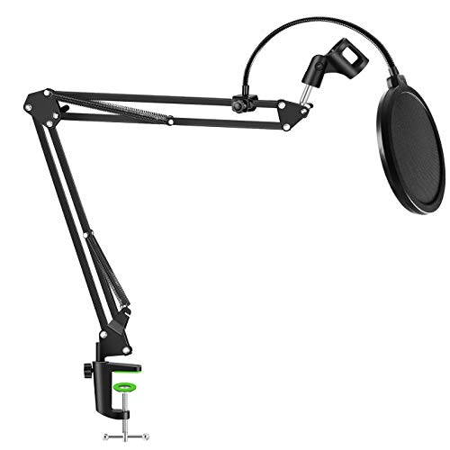 NEUMA Professional Microphone Stand with Pop Filter Heavy Duty Microphone Suspension Scissor Arm Stand and Windscreen Mask Shield for Blue Yeti Snowball, Recordings, Broadcasting, Streaming, Singing