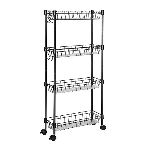 WANDOFO 4-Tier Slim Storage cart,Mobile Shelving Unit with 4 Hoops for Kitchen Bathroom Laundry Room Narrow Places,Black