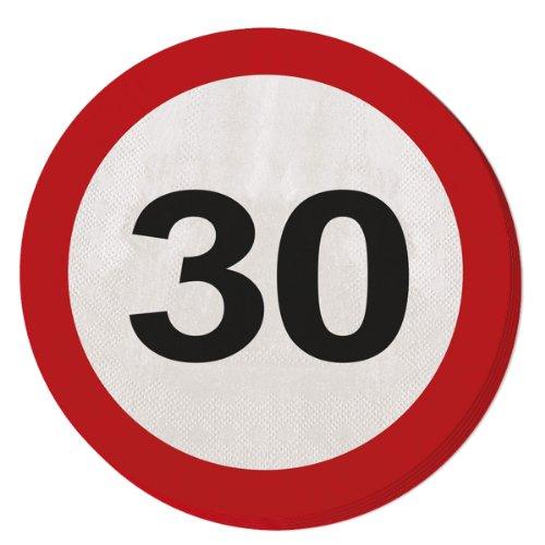 Folat 28330 Party Servietten Verkehrsschild (1 x 20 STK.)-Zahl 30