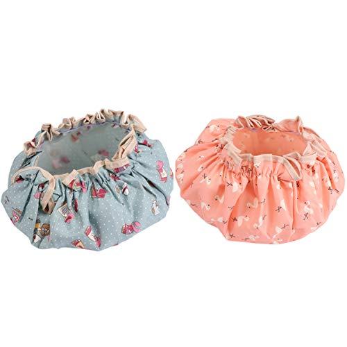 EXCEART 2 Pcs Casquettes de Chapeau de Douche Casquettes de Cheveux Imperméables Bouchons de Gommage Bouffant Réutilisables Chapeau de Chapeau de Sommeil pour Salon de Spa