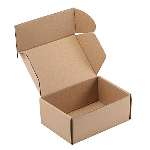 MUKOSEL 6X4X2 Inches Shipping Boxes Set of 25, Recyclable Kraft Corrugated Cardboard Boxes Literature Mailer for Mailing Packing