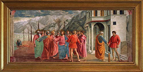 Berkin Arts Masaccio Classic Framed Giclee Print On Canvas-Famous Paintings Fine Art Poster-Reproduction Wall Decor(Tribute Money Trinity) #JK
