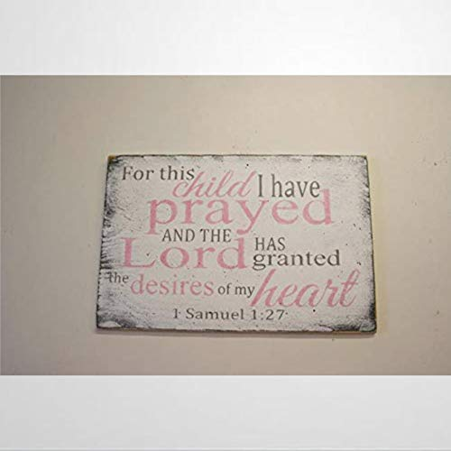 BYRON HOYLE Girls Nursery Decor for This Child I Have Prayed Wood Sign Rainbow Baby Christian Nursery Pink and Gray Nursery Funny Wooden Sign Wood Plaque Wall Art Wall Hanger Home Decor