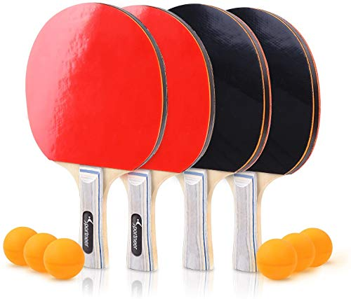 Affordable Red and Black Double-Sided Table Tennis Set, 4 Pro Premium Wooden Paddles/Rackets, 6 Ball...