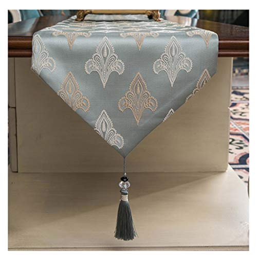 SHENGLI Mantel con bandera de mesa, mesa de café, mesa de comedor, simple y moderno, para TV, color azul claro (tamaño: 33 x 210 cm)