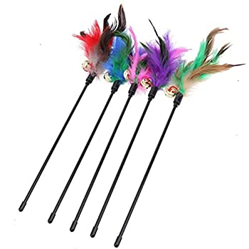 Redsa Lot de 5 jouets pour chat avec plumes, baguette à plumes et clochette, 45 cm