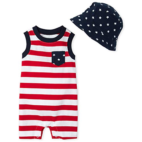 The Children's Place Baby Boys' Novelty Printed Romper Hat Set, Ruby, 6-9MONTHS