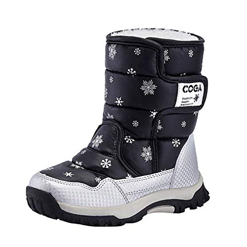 Botas de Nieve Niña Niño Invierno Cálido Forrado Antideslizante Botas de Invierno,Negro,32