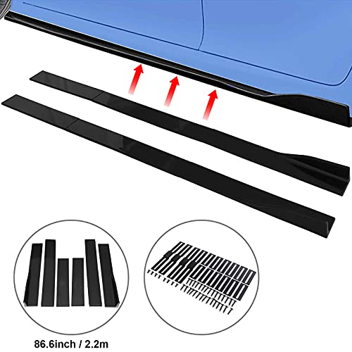 Spurtar Side Skirts for Cars Body Kit 86.6 Inch/2.2M Rocker Panel Exterior Lower Side Bottom Line Extensions ABS Black Compatible with Honda, Toyota, BMW, Chevrolet & more