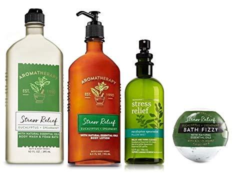 Bath and Body Works Aromatherapy Eucalyptus & Spearmint Gift Set - Body Lotion 6.5 oz, Body Wash Foam Bath 10 oz, Pillow Mist 5.3 oz & Bath Fizzy 4.6 oz, Bath & Body Set