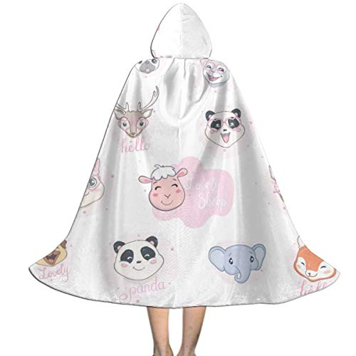 GREEDCLOUD Unisex Hooded Cloak for Halloween Christmas Masquerade Cosplay Costume Cape with Hood for Kids S