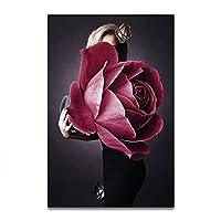 壁アート抽象的な現代家のleaflet女性花キャンバス壁装飾絵画スプレー絵画プレゼント(フレームレス),A,50*75CM