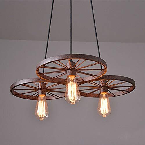 Anciun - Lámpara de techo con forma de rueda, estilo vintage, redonda, E27