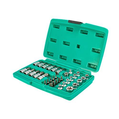 Set grande chiavi a bussola e punte per viti Torx da 34 pezzi - attacco da 3/8″ | WIESEMANN 80164 | punte per viti Torx interne ed esterne | punte per viti Tamper Torx