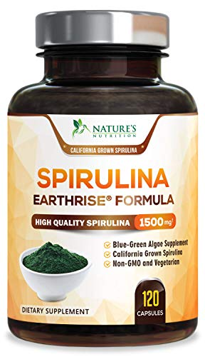 Spirulina Capsules 1500mg - Extra Strength Spirulina Supplement - Natural Antioxidant and Fatty Acids - Rich in Minerals and Vitamins - Non-GMO - 120 Capsules