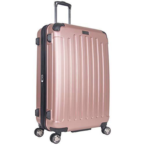 Heritage Travelware Logan Square Lightweight Hardside Expandable Luggage with Spinner Wheels, Rose Gold, 29-Inch Checked