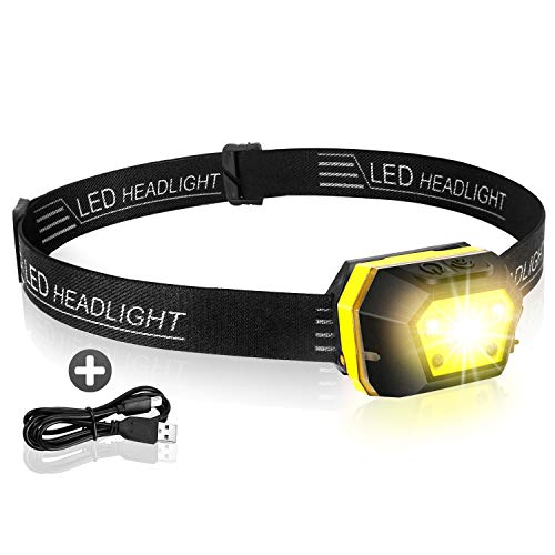 DOZAWA Rechargeable LED Head Lamp,Ultra Bright 400 Lumen,Dual Light Source Intelligent Induction Headlamp Flashlight,Perfect for Trail Running, Camping, Hiking and More,Lightweight, Waterproof,Yellow