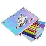 Dazzle Color Unicorns Pencil Case,V-KAMXECM Big Capacity Pen Case Unicorn Cosmetic Bag Rainbow Reflective Student Pencil Pouch Marker Pen Case Office School 3 Binder Holes Student Storage Pouch