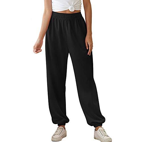 Pantalones Sueltos de Mujer Cintura elástica Patalon piernas Anchas Estilo de Carga Apretado Pantalones Anchos fluidos Relajado para Trotar Soprt Loisir (Negro Delgado, L) 🔥