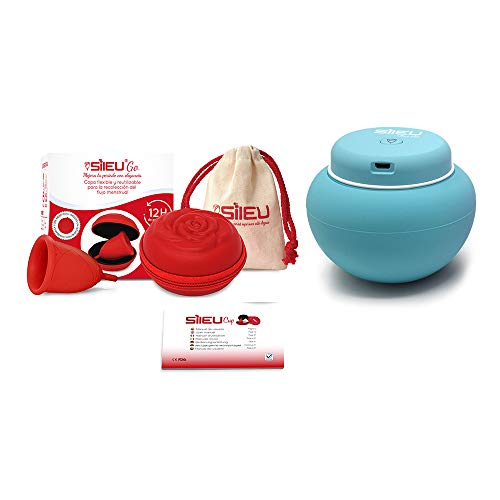 Sileu Travel Plus - Copa menstrual Sileu Rose, Talla L, Rojo, Flexibilidad Soft + Estuche en forma de flor Rojo, 8 cm + Esterilizador eléctrico recargable USB para copas menstruales, Azul