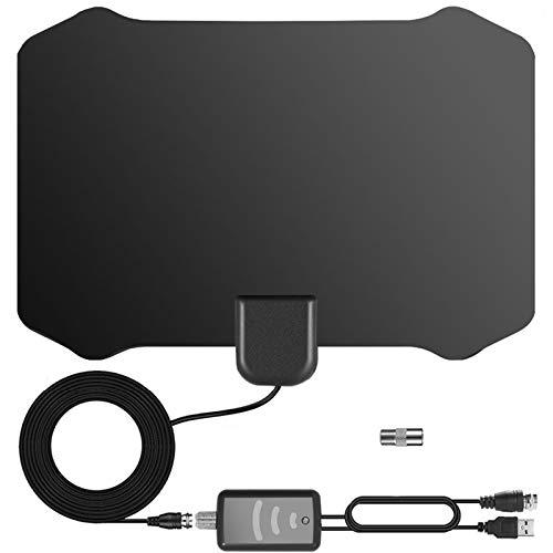 Antena de TV, Antena Interior HDTV DVB-T DVB-T2 TDT con Portatil Amplificador, 120 Millas Gama de Recepción, Obtenga Muchos Canales de TV Gratis, Fácil de Usar y Instalar