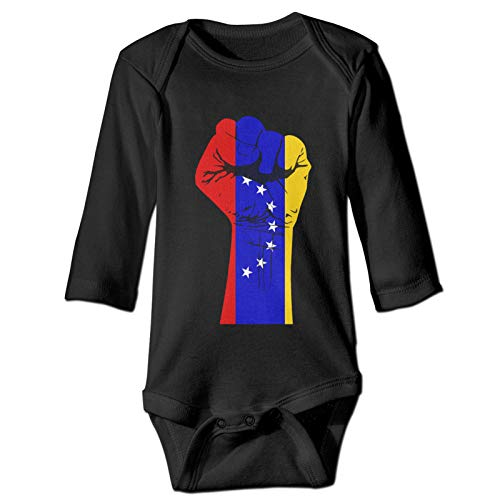 Onita Patriotic Venezuela Resist Fist Flag Newborn Gilr's Boy Kids Baby Long Sleeve Toddler Shirts(2t,Black)