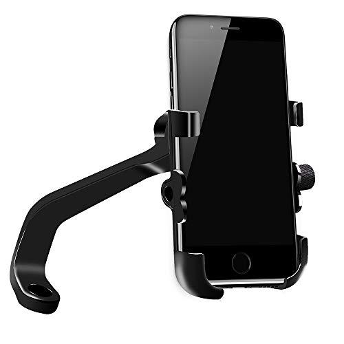 Meipire Motorrad Handy Aluminiumlegierung Halterung Halter mit QC3.0 USB Steckdose Schnellladung Handyhalter Anzug für ATV Motorrad (Rückspiegels Einbau SchwarzSchwarz)