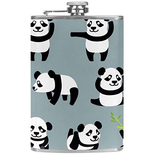Kawaii Mochi Panda Flat Liquor Flask met trechter Alcohol Whiskey Wijnvlaggen 9.2x15cm/3.6x6in Mutli04