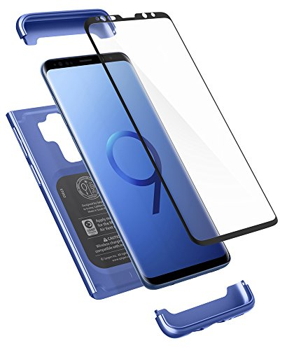 Spigen 593CS22960 Thin Fit 360 für Samsung Galaxy S9 Plus Hülle, 360° Rundumschutz-Schale mit Gratis Panzerglas Handyhülle Schutzhülle Case Coral Blue