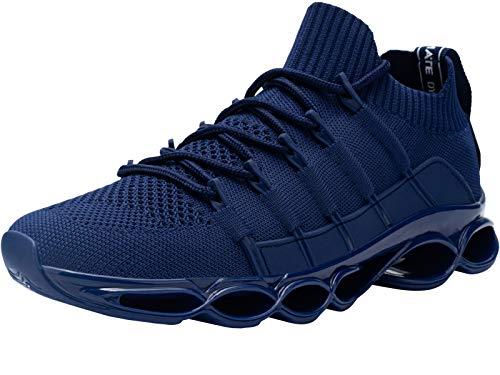DYKHMATE Uomo Antishock Scarpe da Ginnastica Corsa Sportive Fitness Running Sneakers Basse Interior Casual all'Aperto (Blu Scuro,42 EU)