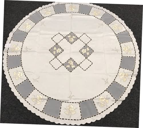1 Pcs Tablecloth Beige Ivory Polyester Embroidery We free shipping Cream Rapid rise Round