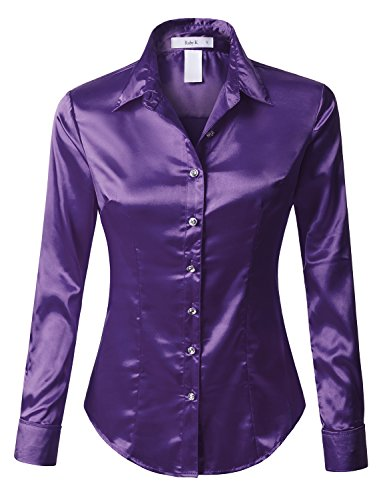 RK RUBY KARAT Womens Long Sleeve Satin Blouse with Cuffs