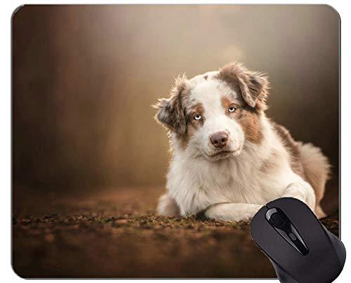 Yanteng Alfombrillas de ratón Mousemat, Perro de Pastor Australiano para Mascotas - Bordes cosidos
