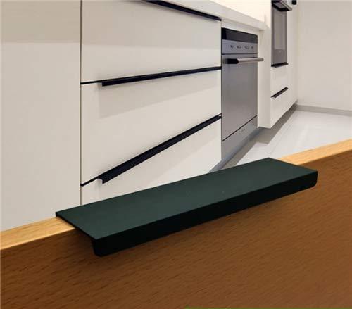 Tiradores de armario de cocina para armario, cajón, cepillados, material para armario, armario, de acero inoxidable, juego de 10 unidades, color negro, negro