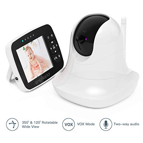 Check Out This CACAGOO Video Baby Monitor with Remote Camera Pan-Tilt-Zoom, 3.5 Color LCD Screen, T...