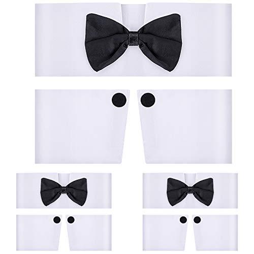 3 Sets Kragen und Manschetten-Set für männliche Tänzerin, Kostüm, Fliege mit Manschetten, für Männer und Frauen, Halloween-Kostüm