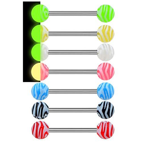 Oufer - Piercing para la lengua en forma de barra con colores de caramelos, brillan en la oscuridad, de acero inoxidable 316L 14 G, 7 unidades