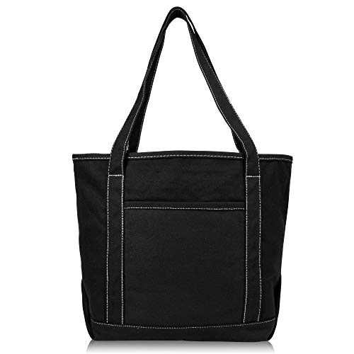 DALIX 20' Solid Color Cotton Canvas Shopping Tote Bag in Black-White